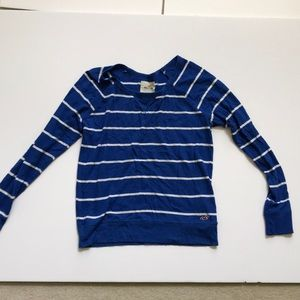 Hollister blue and white striped sweater